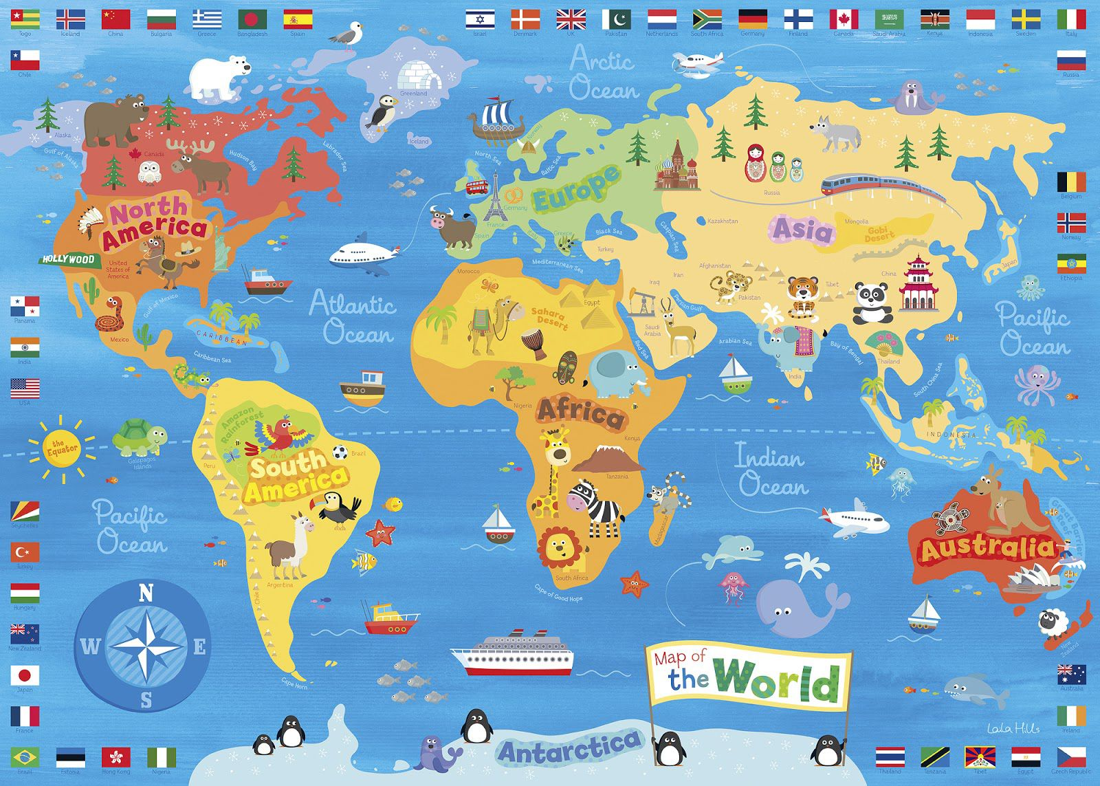 Illustrated Map of the World for Kids (Children's World Map) | 4K