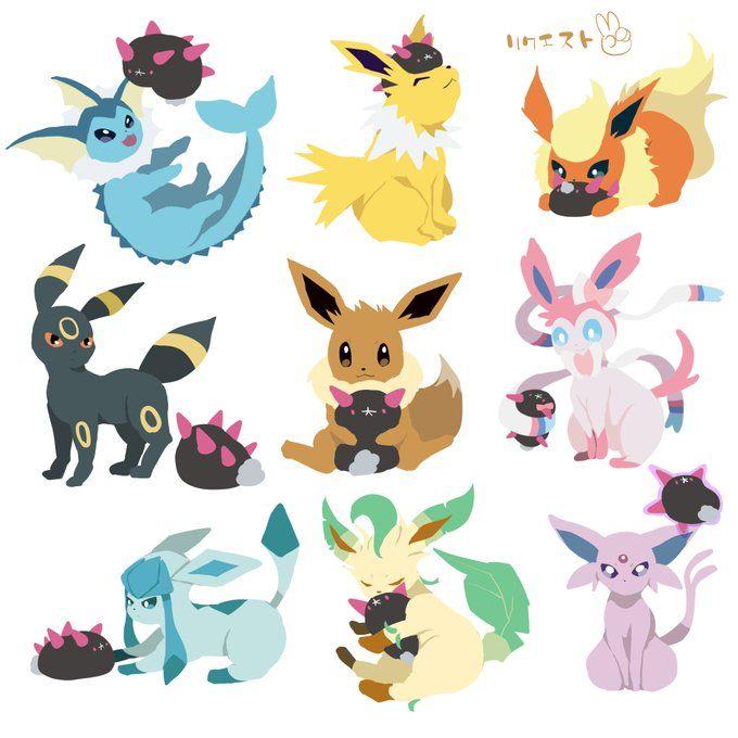 Extremely Cute Eeveelutions And Pyukumuku Pokemon