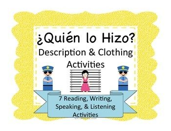 Spanish whodunnit activities to help students with physical descriptions and clothing.