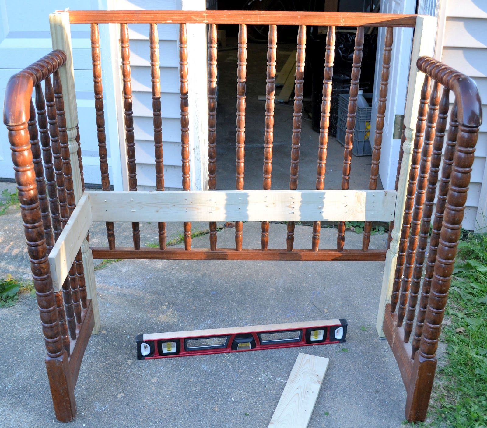 drop side crib turned bench this would be a great way to preserve hubby 39 s baby bed after 77 yrs. Black Bedroom Furniture Sets. Home Design Ideas