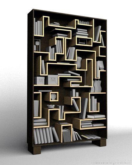 Maze Bookshelf    Like The Tetris Essence Of It .