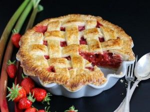 Classic pie made with a delicious strawberry rhubarb filling.