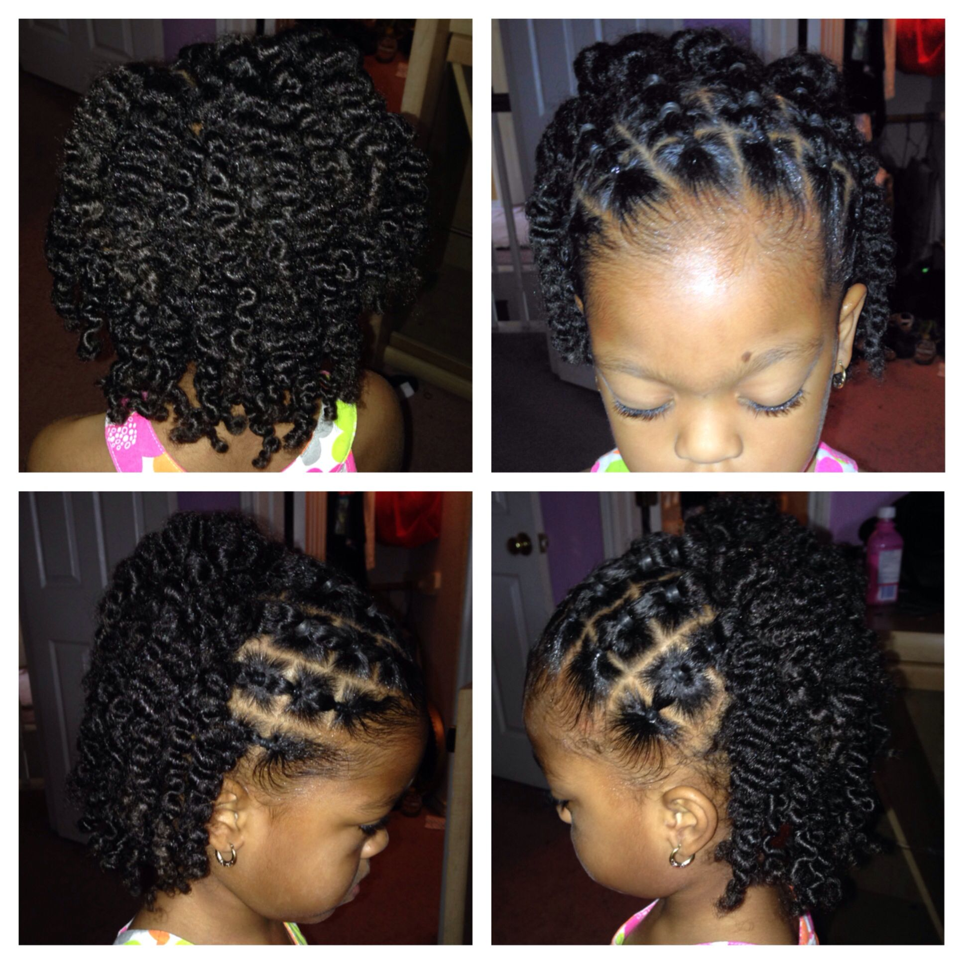 Quick easy hairdo to try for the girls,but instead of using rubber ...