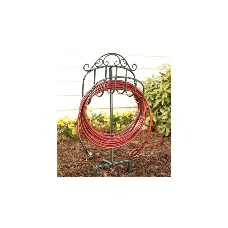 Wrought Iron Hose Holder With Ground Stake Outdoor Organization