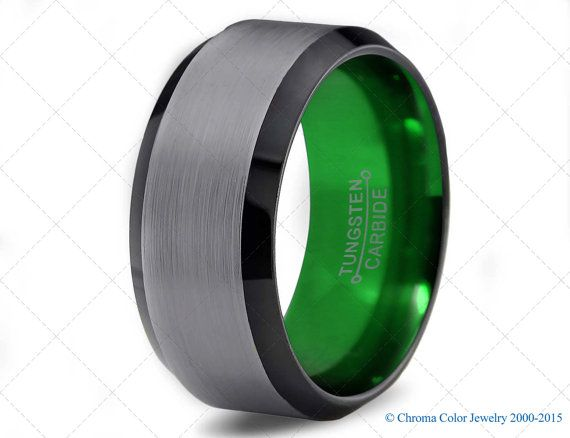 Mens Wedding Band Black Green Tungsten Ring Bands Colored Rings 4mm 6mm 8mm 10mm Size Womens Matching Hers Set Anniversary
