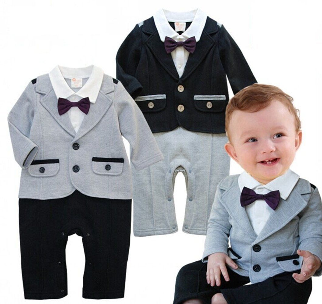 Baby Boy Wedding Formal Party Tuxedo Jacket Suit Romper Outfit ...