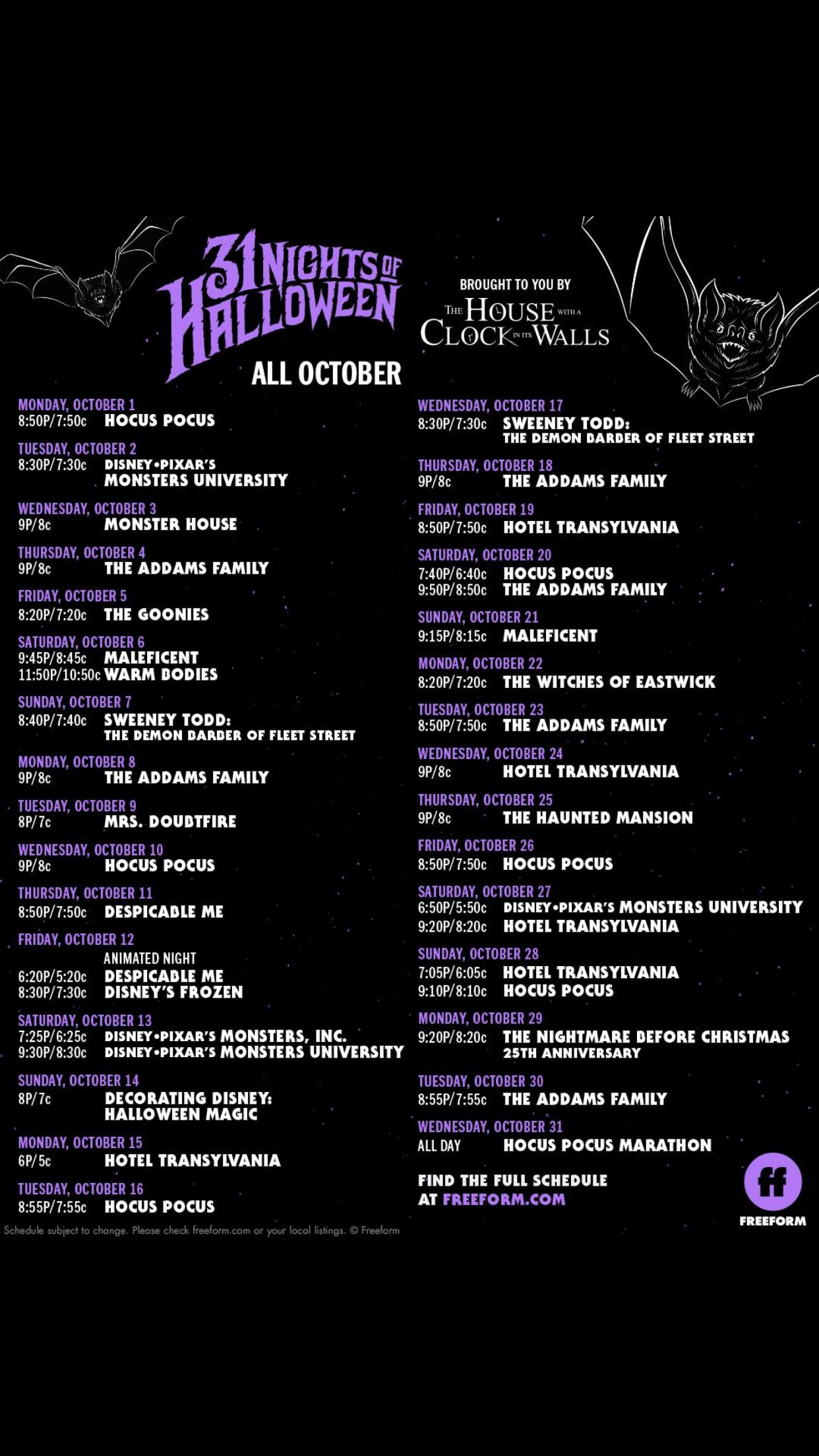 2018 Freeform 31 Days of Halloween programming Halloween