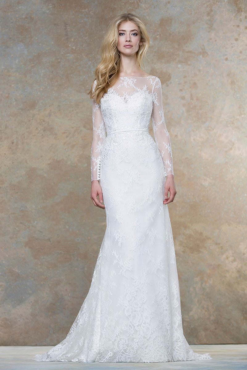 floor length mermaid backless long sleeves lace wedding dress