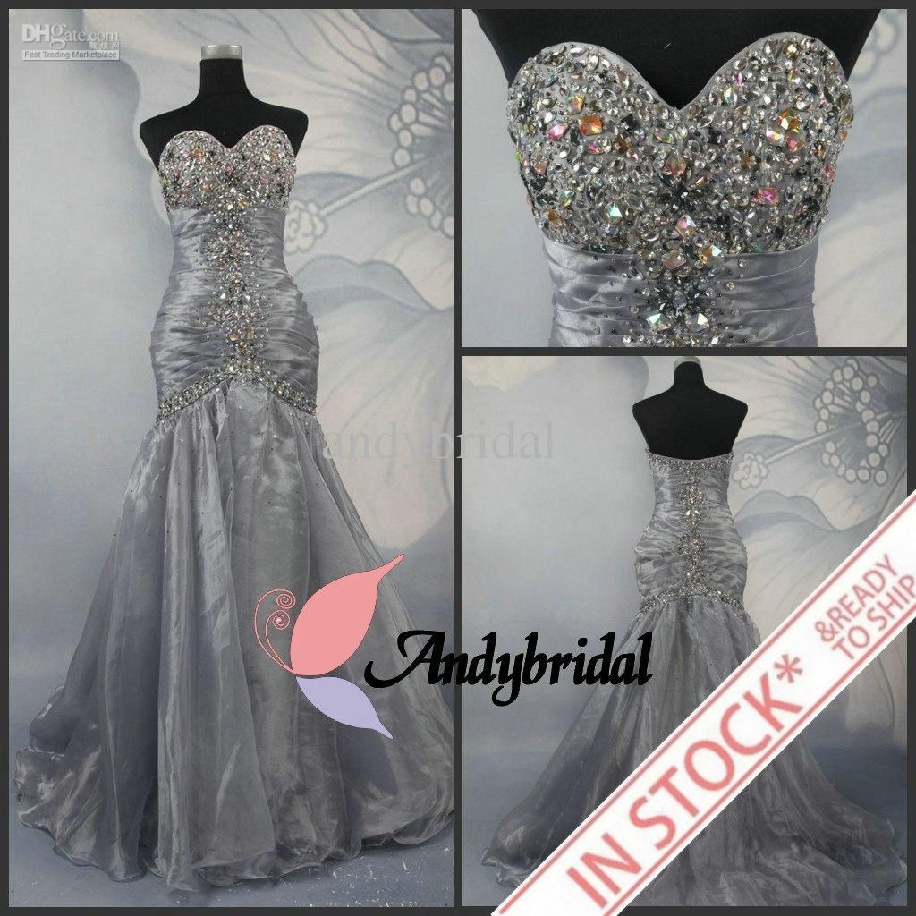 Cheap Prom Dresses Silver Long Mermaid Dresses Evening Wear ...