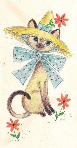 Vintage Hallmark Note Card Siamese Kitty