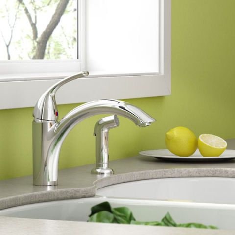 Quince 1 Handle Kitchen Faucet With Side Spray American Standard Kitchen Faucet Faucet Kitchen Handles