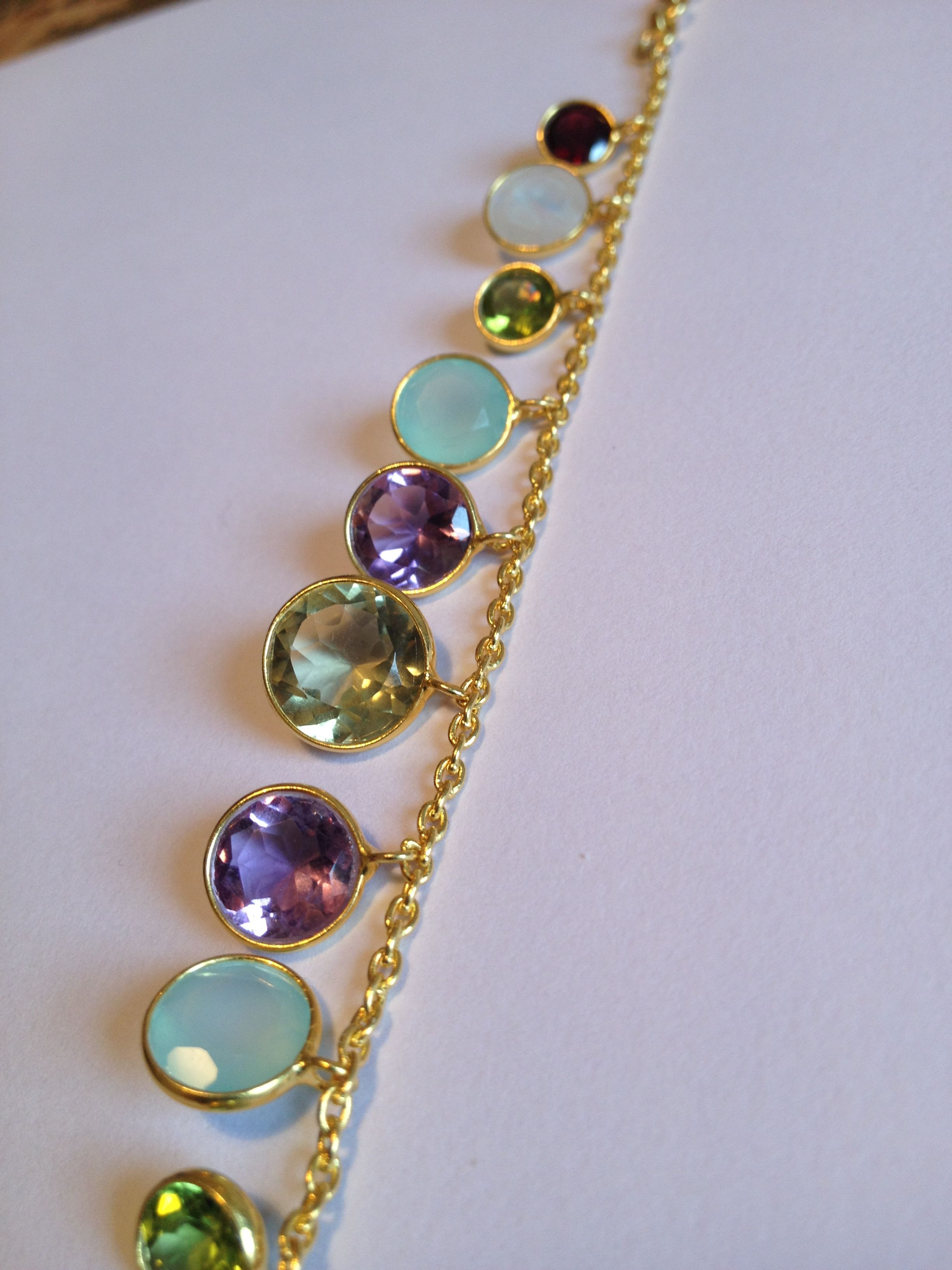 Multi gem set charm bracelet - classic