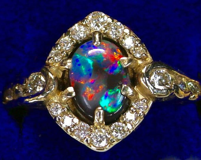 Black Opal Engagement And Wedding Rings See 12 On Video Solid