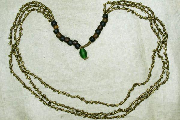 "Three Strand Brass-Bronze ""Pokey"" Necklace from Nagaland"