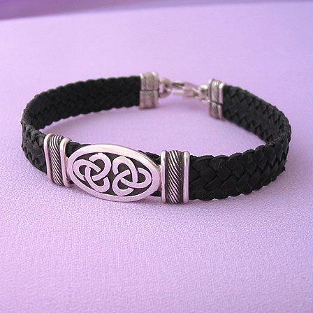 irish celtic knot brown leather silver bracelet. Black Bedroom Furniture Sets. Home Design Ideas