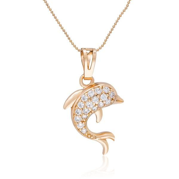 18 k rose gold plated stone studded dolphin pendant necklace 18 k rose gold plated stone studded dolphin pendant necklace aloadofball Choice Image