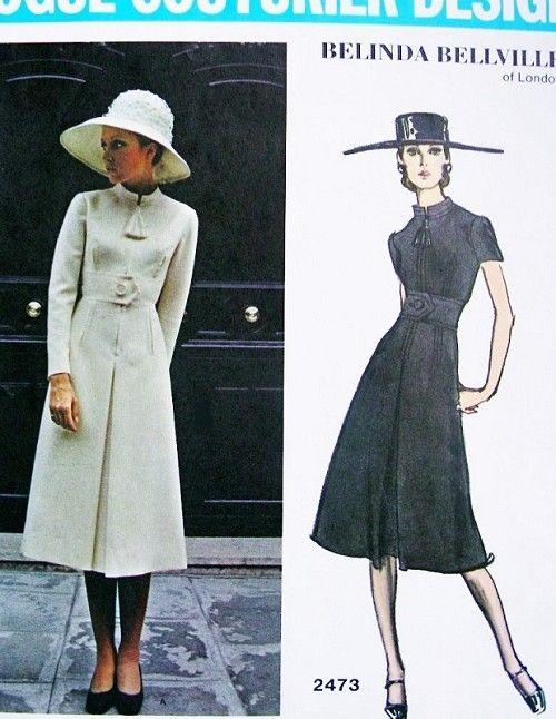 1970s Elegant Midi Dress Pattern VOGUE COUTURIER DESIGN 2473 Belinda Bellville of London Design Daytime or After 5 Dress Bust 32.5 Vintage Sewing Pattern FACTORY FOLDED