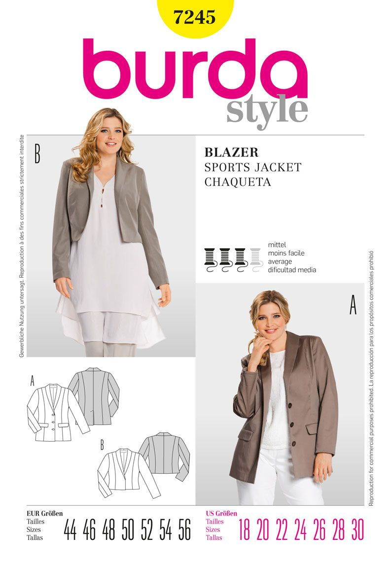 Burda Style sewing pattern B7245 Jacket (Average skill level.) Plus ...