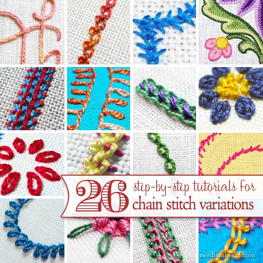 Chain stitch is one of the basic embroidery stitches, but it has so many variations! Here's a list of 26 variations on chain stitch, with tutorials for each of them. ༺✿ƬⱤღ  http://www.pinterest.com/teretegui/✿༻