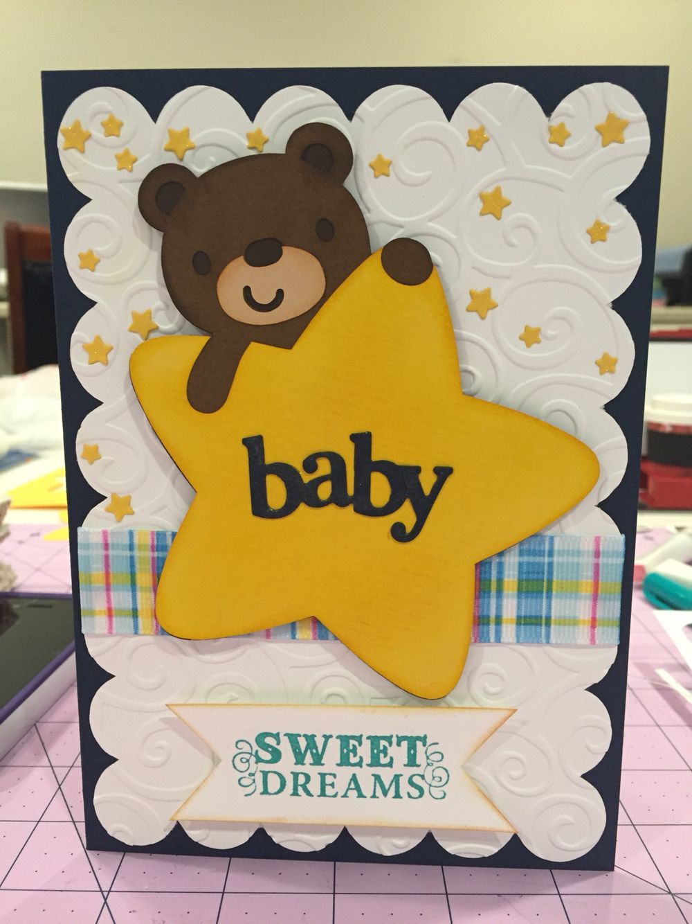 Handmade Baby Shower Card Using Baby Steps Cricut Cartridge