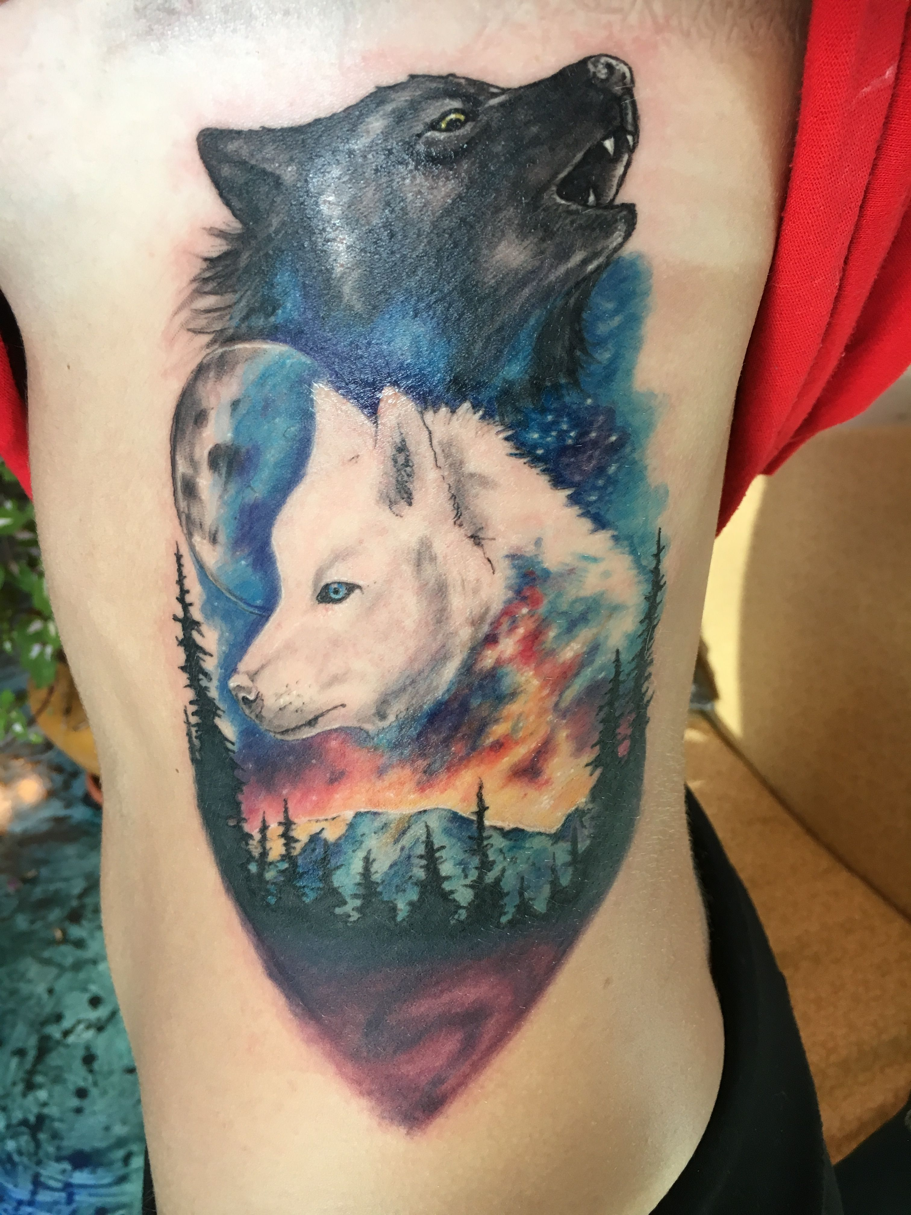 Battle of two wolves tattoo