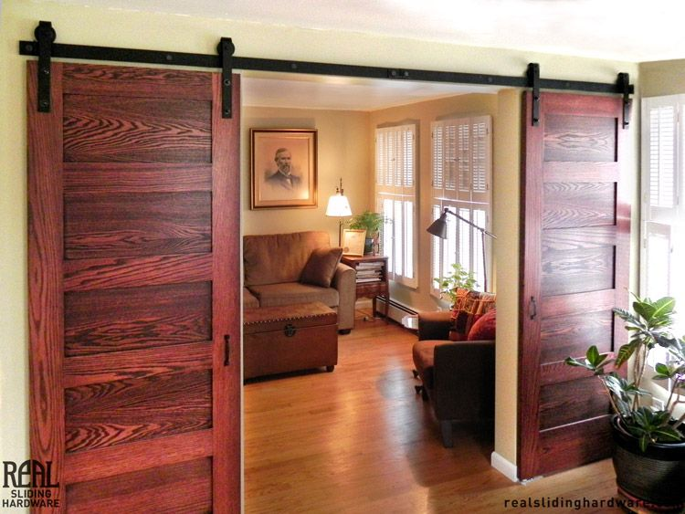 Barn Door Hardware Divides Sitting And Dining Rooms