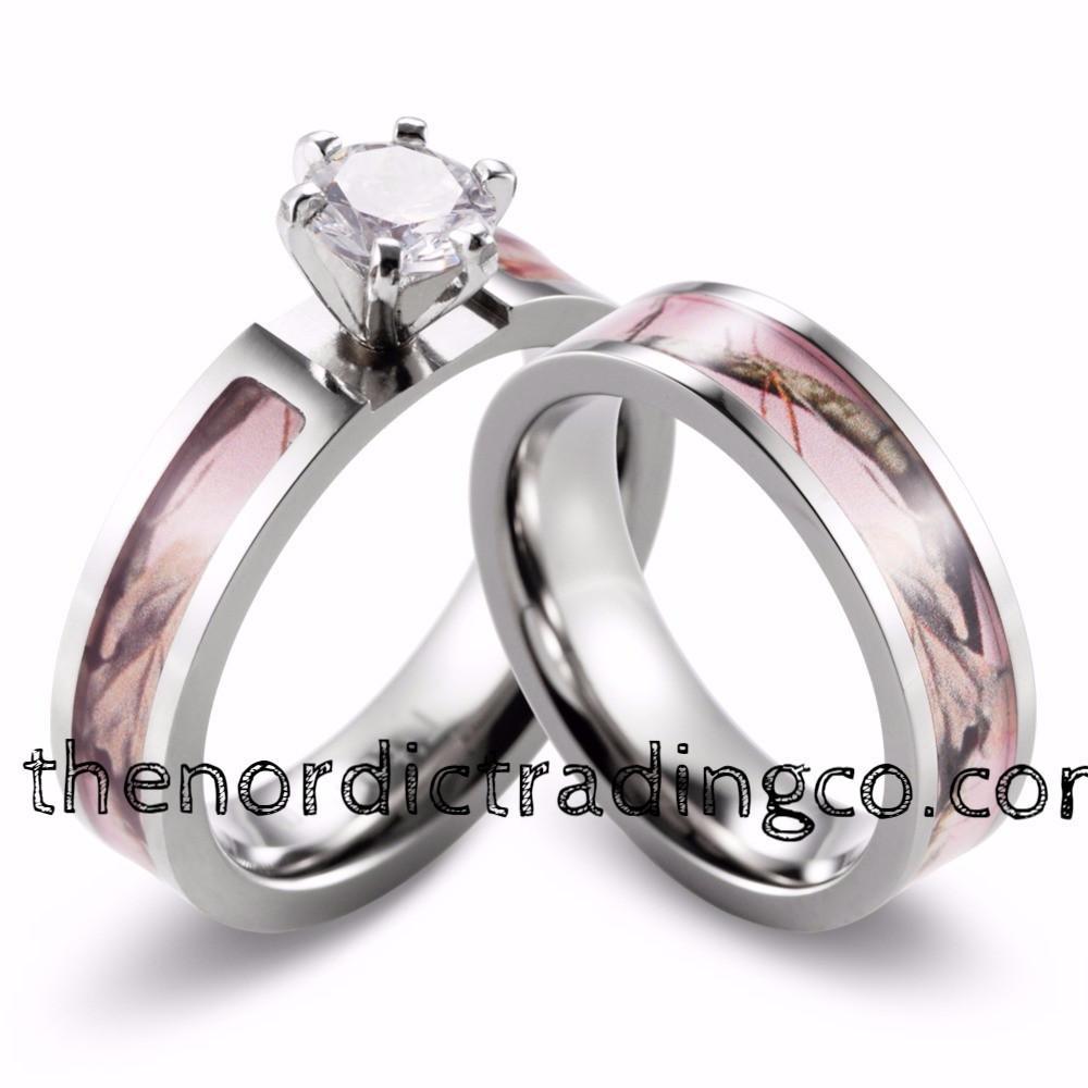 Titanium Women S Soft Pink Camo 2pc Wedding Set 4 Prong Cz Engagement Ring Bridal Band Sz 5 10 In 2020 Camo Engagement Rings Wedding Ring Sets Cool Wedding Rings