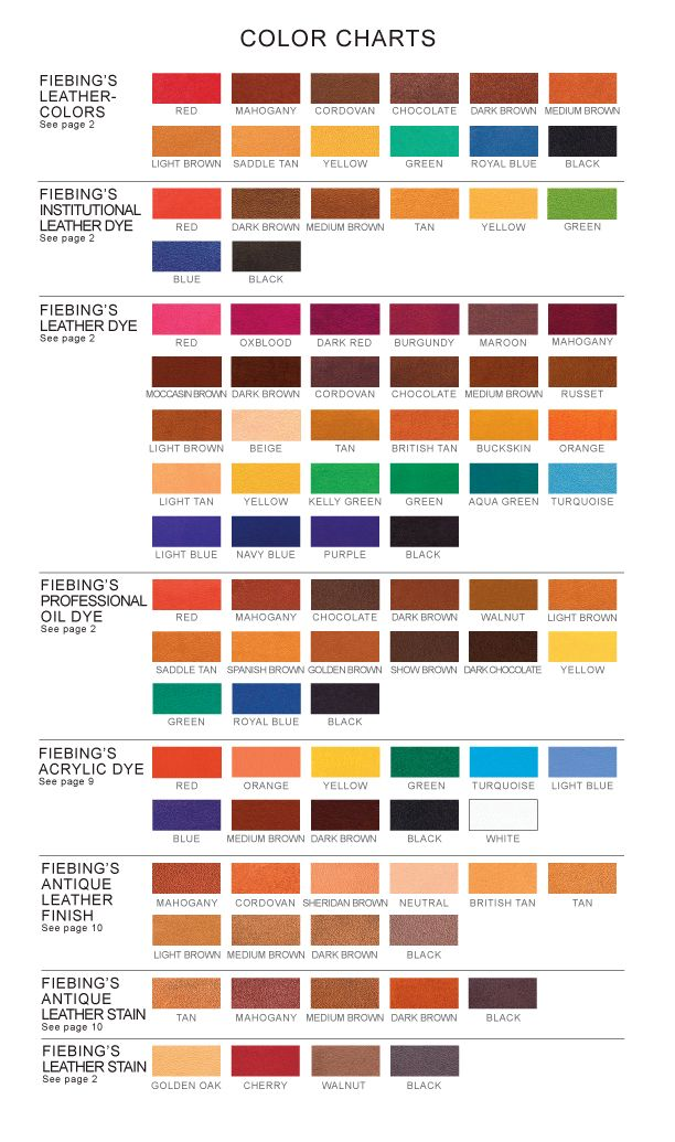 Fiebing S Leather Dye Color Chart Leather Dye Leather Furniture Leather Restoration