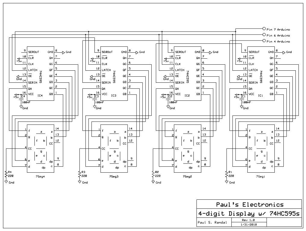 Paul's Electronics Arduino cascading shift registers to