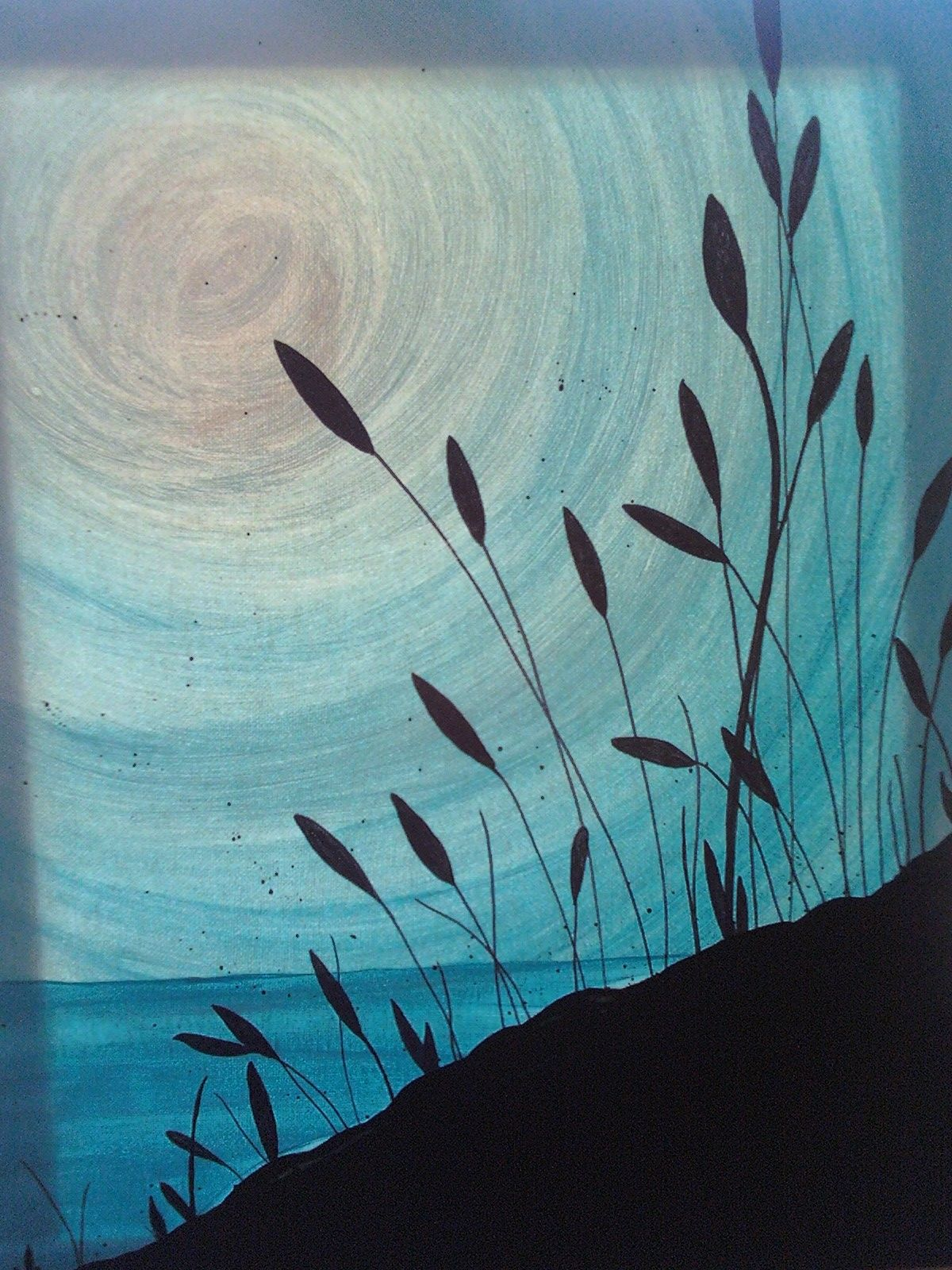 Monochromatic silhouette - this could be a great idea to do with a Gelli  plate process!