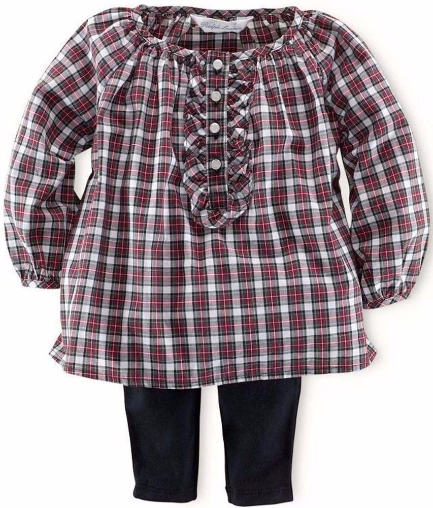 NWT Ralph Lauren Polo Baby Girls Plaid Tunic & Tuxedo Leggings Set 12 Months #RalphLauren #DressyEveryday