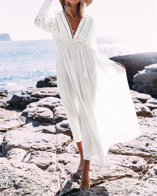 33e939a464 Boho Deep V Neck Hollow Out Long Dress Women Plus Size Summer Beach Tunic  White Cotton Sexy A Line Long Dress Vestidos #N274-JetSet-JetSet