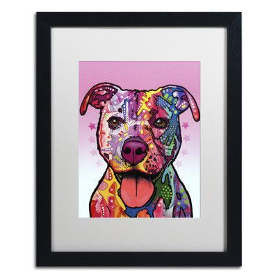 "Trademark Art ""Cherish The Pitbull"" by Dean Russo Matted Framed Painting Print Size: 20"" H x 16"" W x 0.5"" D"