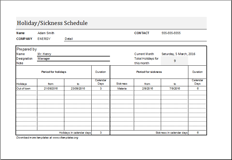 Employee Holiday U0026 Sickness Schedule Template DOWNLOAD At  Http://www.xltemplates.