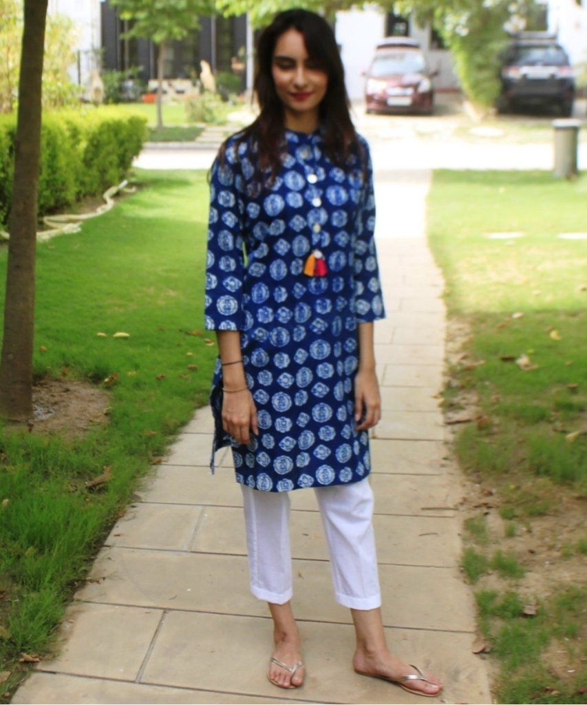 84ce0676dc4 Money Times Indigo Blue Short Kurti with Straight Pants