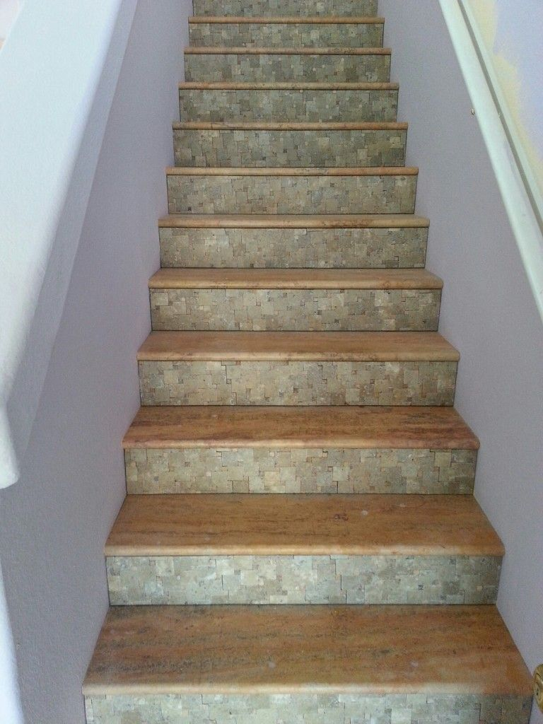 Authentic Durango Autumn™ Vein Cut Stair Treads And A Mosaic Meshmount  Pattern In Noche For The Risers By Kitchen AZ Cabinets U0026 More!
