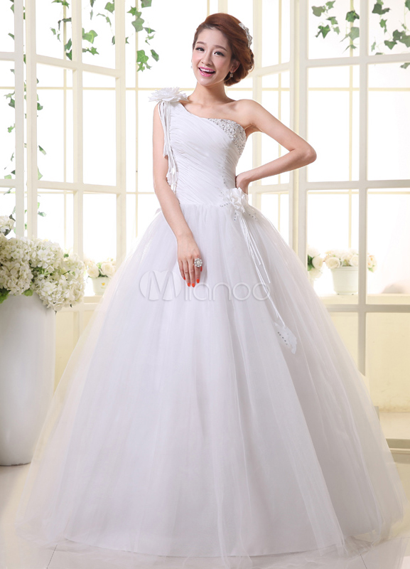 White Ball Gown One Shoulder Sequin Floor Length Bridal Wedding