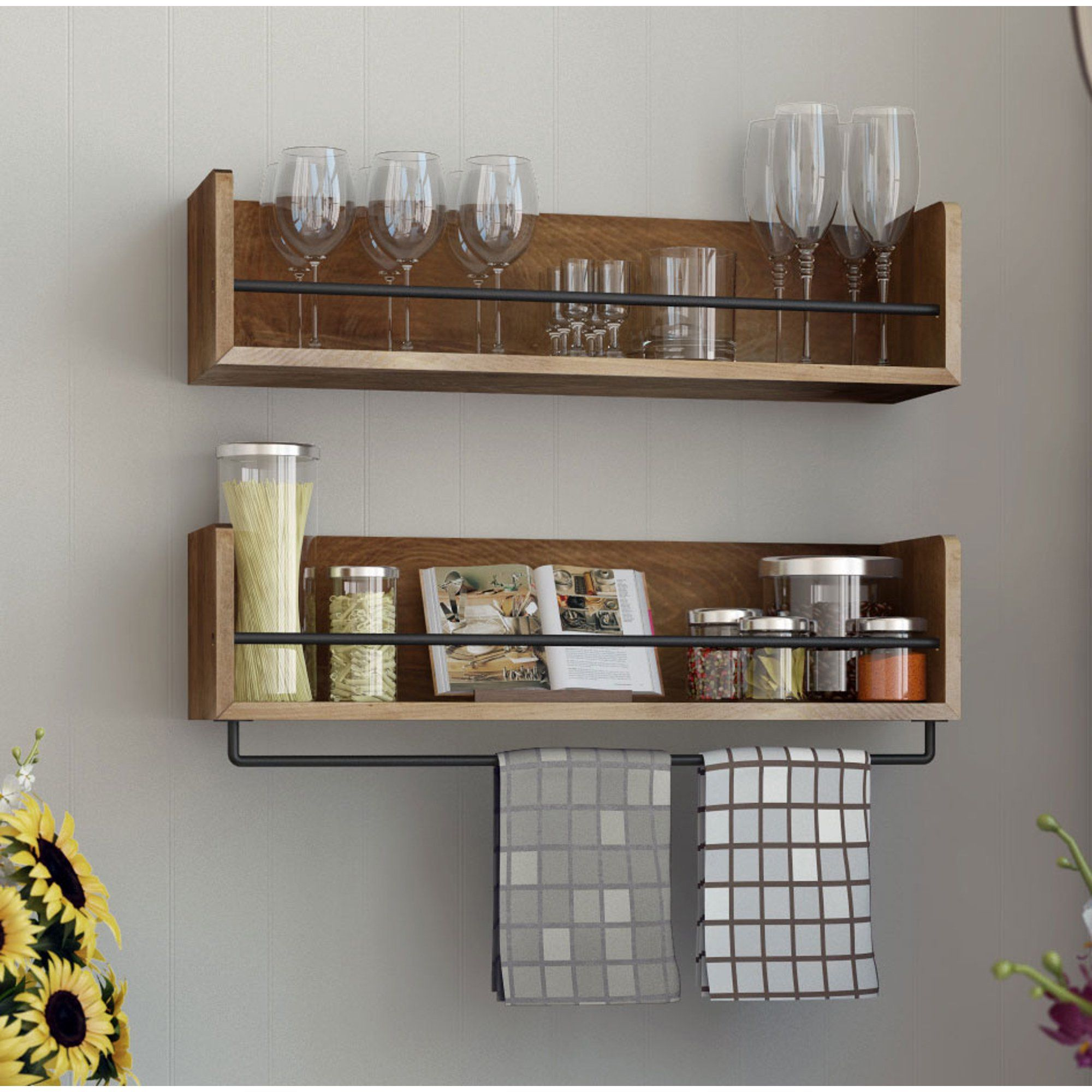 Rustic State Floating Wood Wall Shelf With Metal Rail Great As Spice Rack Artifact Design Walnut Stained Set Of 2 Walmart Com In 2020 Wood Wall Shelf Shelves Kitchen Shelves