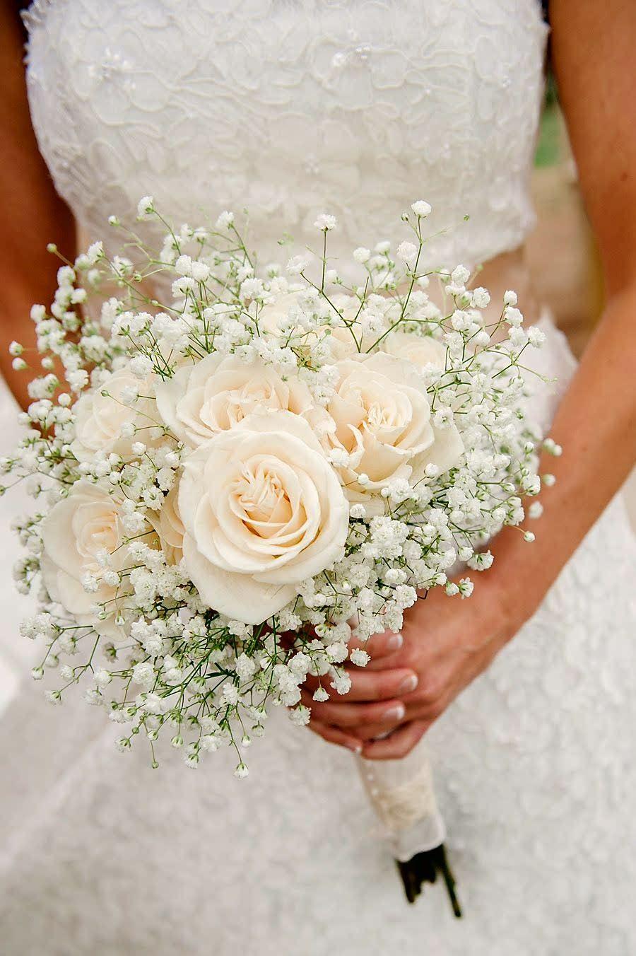 Bridal Bouquet Showcasing Cream Roses White Gypsophila Baby S Breath