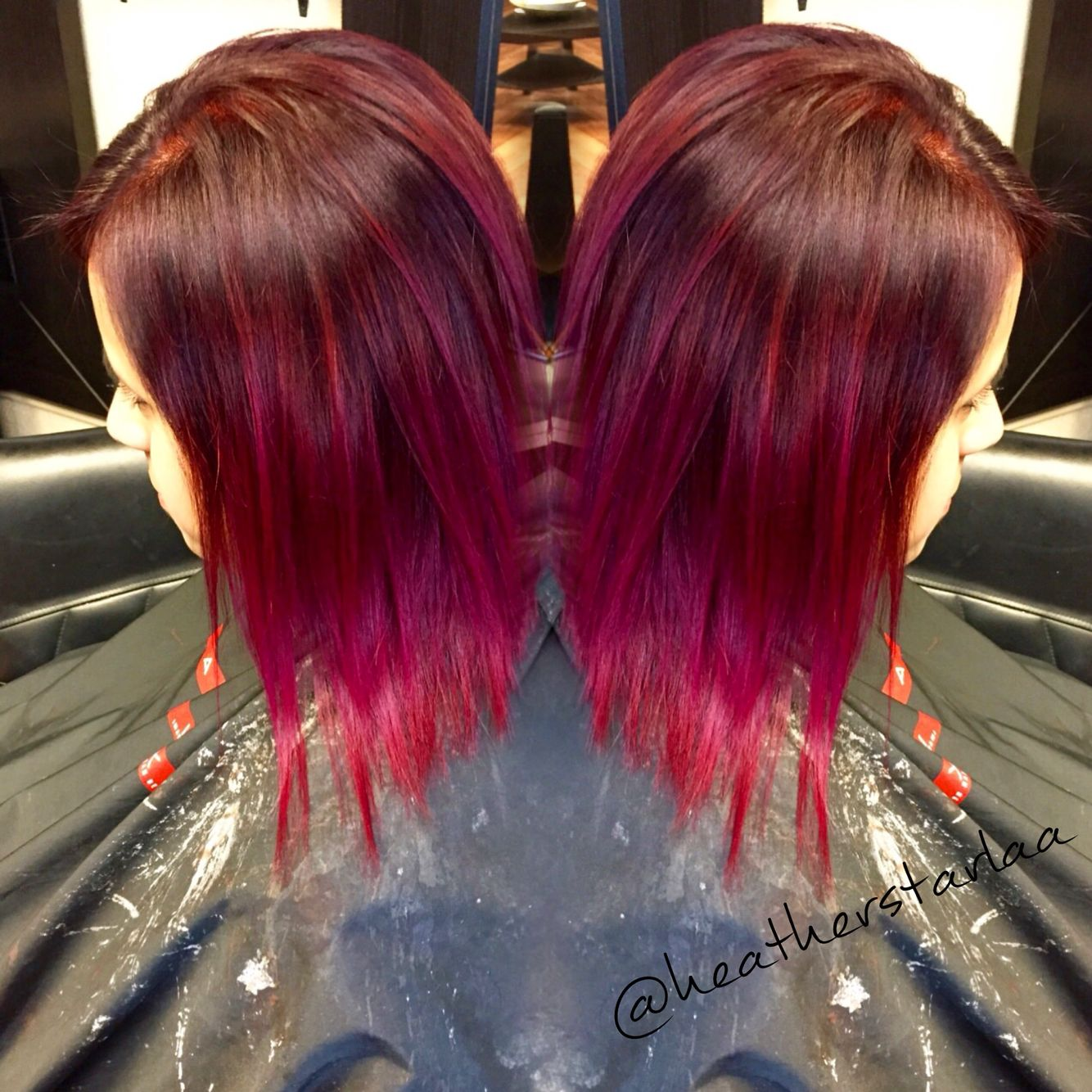 Picture of black and magenta balayage hair - Red Violet To Magenta Balayage Ombre On Short Hair