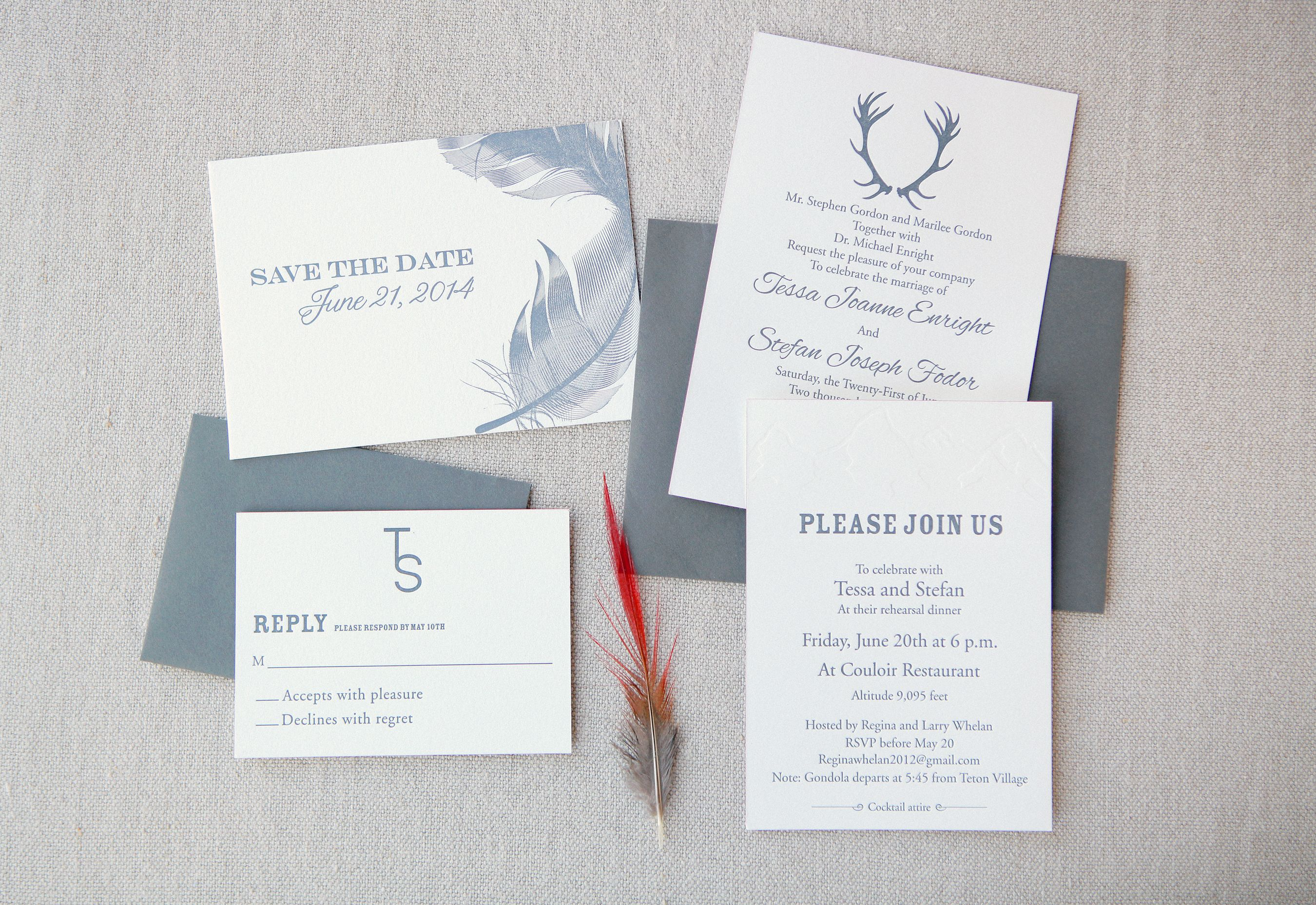 Rustic Bohemian Feather And Antler Stationery Wedding Ideas