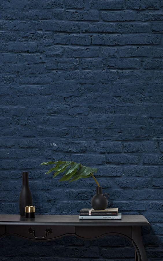 Tiefblaue Ziegelsteinmauer Tapete | Tapeten Wandbilder | Pinterest |  Interiors, Blue Palette And Modern Farmhouse Style