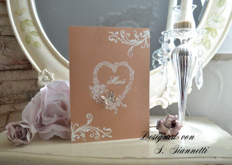 Einladungskarten Menükarte Shabby Chic Vintage Hochzeit 3d ein