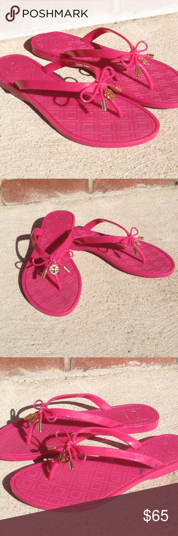 120b0a6607956 Tory Burch Jelly Bow Logo-Charm Thong Sandal Tory Burch rubber jelly slide  sandal. Features a flat heel