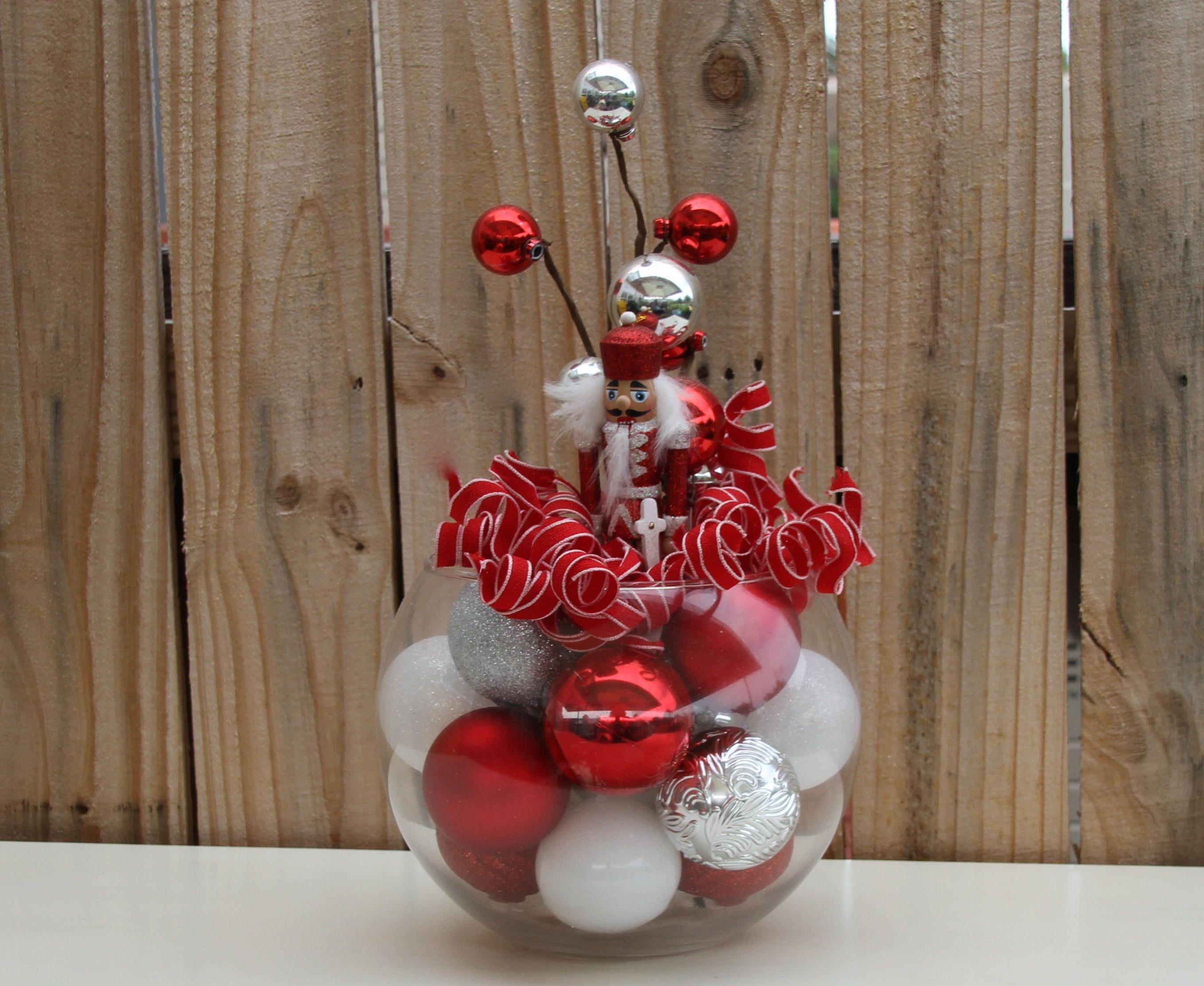 Nutcracker Christmas Centerpiece Red and Silver Holiday Home Decor