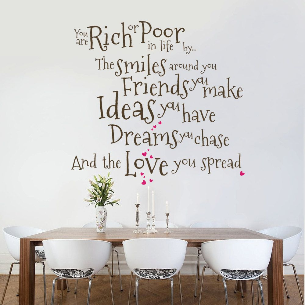 You are rich or poor wall decal quote sticker lounge for Dining room wall art stickers