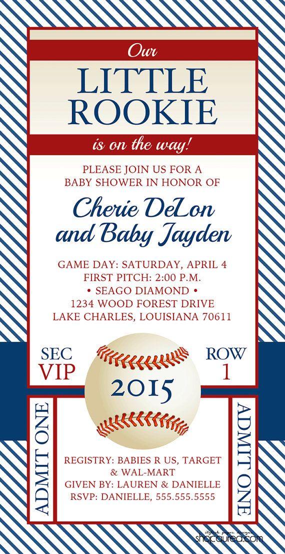Vintage Baseball Baby Shower Invitation - Little Rookie - Baby Boy ...