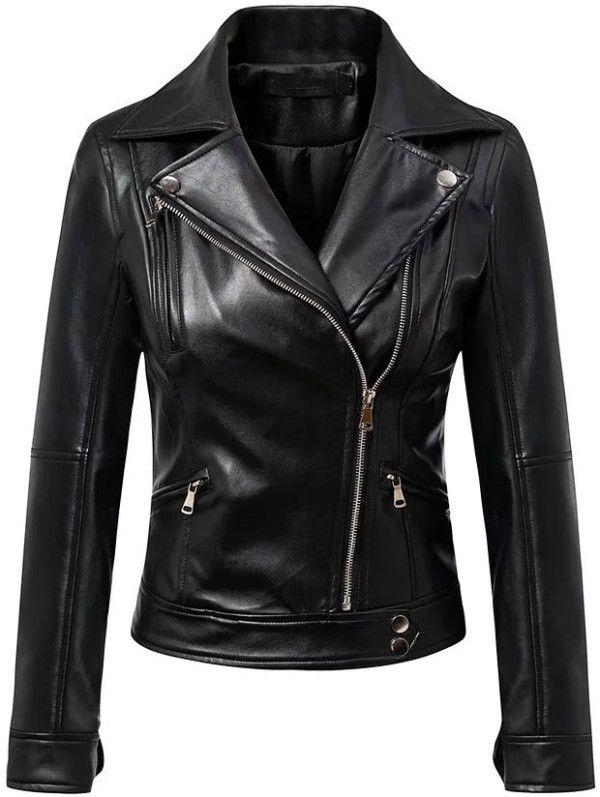 d161a39065 Black Oblique Zipper PU Moto Jacket -SheIn(Sheinside) | SHEIN ...
