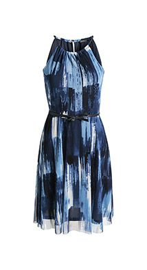 cbdb596774df Esprit   Stretch Print Mesh-Kleid mit Gürtel
