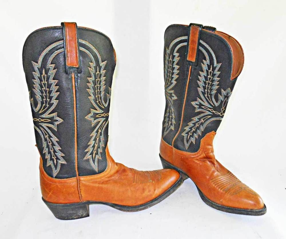 450f2a6faac Vintage Lucchese 2000 Boots Western Fancy Two Tone Embroidered ...